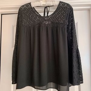 LOFT Black Crepe and Lace Flowy Top w/Bell Sleeves